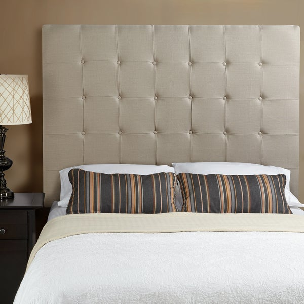 ... + Haute Stratton Beige Linen Tall Full Tufted Upholstered Headboard