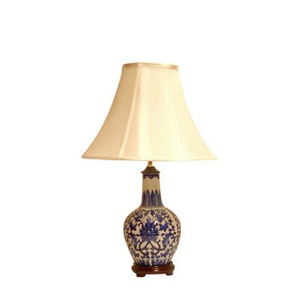 Crown Lighting Blue and White Traditional Birds and Flowers Plum Shaped Table Lamp