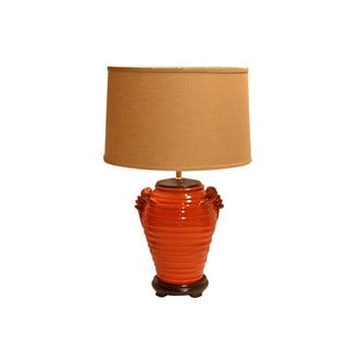 Crown Lighting Orange Circles Distressed Finish Pottery Table Lamp with Khaki Drum Shade