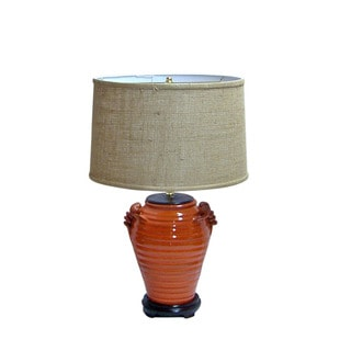 Crown Lighting Orange Circles Distressed Finish Pottery Table Lamp with Brown Burlap Lined Drum Shade