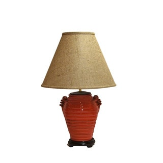 Crown Lighting Orange Circles Distressed Finish Pottery Table Lamp with Brown Burlap Empire Shade