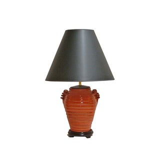 Crown Lighting Orange Circles Distressed Finish Pottery Table Lamp with Black Empire Shade