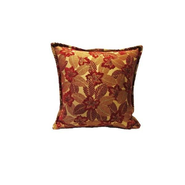 Corona Decor Red Mosaic Leaf Pattern Square Decorative Pillow