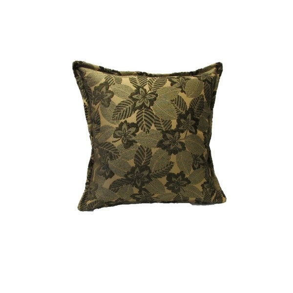 Corona Decor Green Mosaic Leaf Pattern Square Decorative Pillow