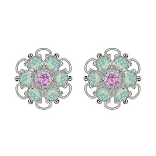 Lucia Costin Sterling Silver Lilac Mint Blue Crystal Earrings with Flower