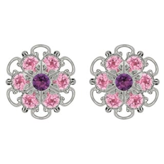 Lucia Costin Sterling Silver Light Pink Violet Swarovski Crystal Earrings
