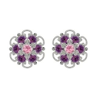 Lucia Costin Sterling Silver Violet Light Pink Crystal Earrings Fancy Garnished