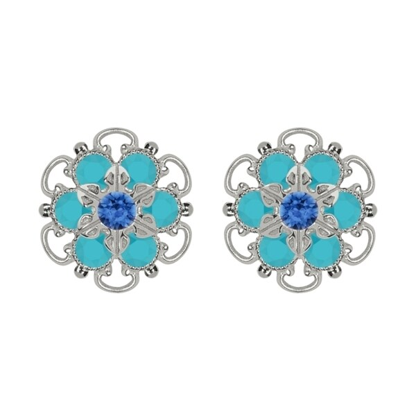 Lucia Costin Sterling Silver Blue Turquoise Austrian Crystal Earrings Cute Embellished 15381167
