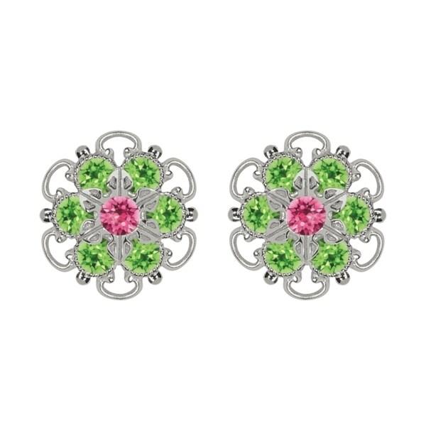 Lucia Costin Sterling Silver Pink Light Green Swarovski Crystal Earrings