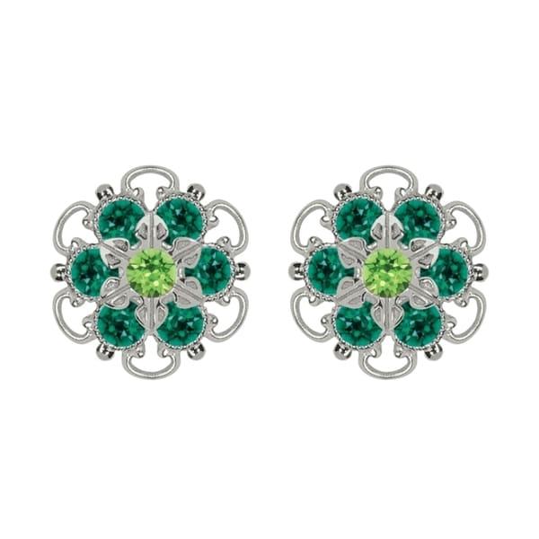 Lucia Costin Sterling Silver Light Green Dark Green Crystal Earrings