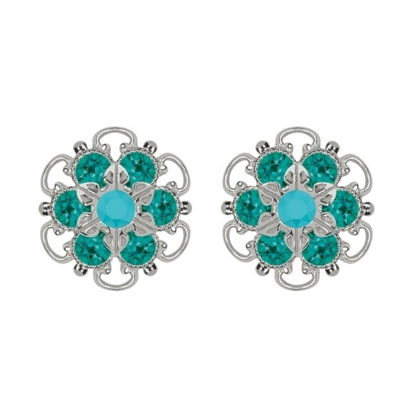 Lucia Costin Sterling Silver Turquoise Green Crystal Earrings with Flower