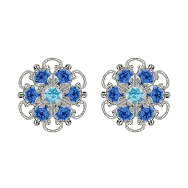 Lucia Costin Sterling Silver Light Blue Austrian Crystal Earrings 15381214