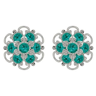 Lucia Costin Sterling Silver Turquoise Green Crystal Earrings 15381236