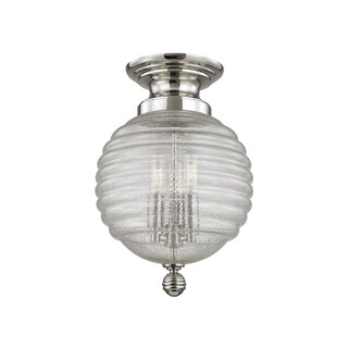 Hudson Valley Coolidge 3-light Nickel Flush Mount with Clear Glass Shade