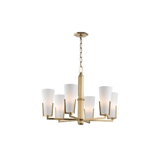 Hudson Valley Upton 6-light Brass Chandelier with Frosted Shade