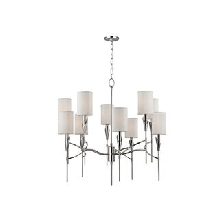 Hudson Valley Tate 10-light Chandelier Nickel Chandelier with White Silk Shade