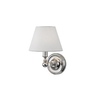 Hudson Valley Sidney 1-light Nickel Sconce with White Linen Shade