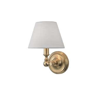 Hudson Valley Sidney 1-light Brass Sconce with White Linen Shade