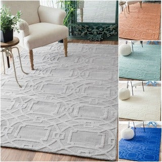 nuLOOM Handmade Abstract Trellis Wool Rug (7'6 x 9'6)