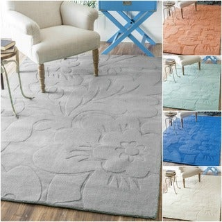 nuLOOM Handmade Abstract Floral Wool Rug (7'6 x 9'6)