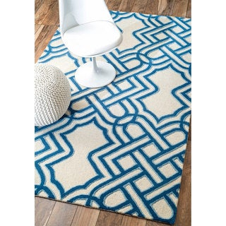 nuLOOM Handmade Abstract Wool Navy Rug (7'6 x 9'6)