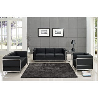Charles Petite Black Genuine Leather 3-piece Sofa Set