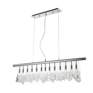 Sparkling 13-light Full Lead Crystal Chrome Finish 48-inch Wide Linear Pendant Light