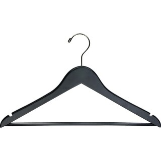 Black Wooden Suit Hangers with Solid Wood Pant Bar, Flat Hangers with Notches and Swivel Hook