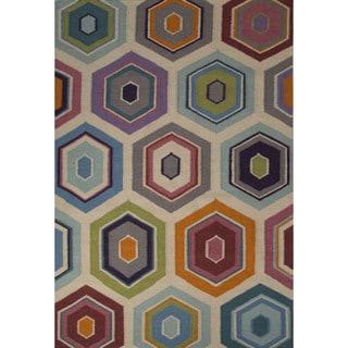 Flatweave Casual Geometric Pattern Angora/ Apricot (5' x 8') Area Rug