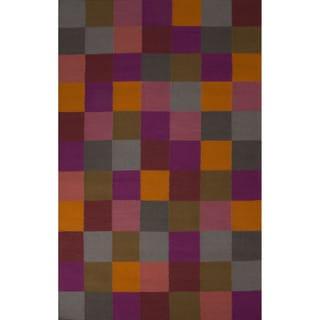 Flatweave Casual Geometric Pattern Flint Grey/ Charcoal Grey (5' x 8') Area Rug