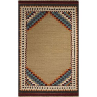 Flatweave Southwestern Oriental Pattern Warm sand/ Crème brulee (5' x 8') Area Rug
