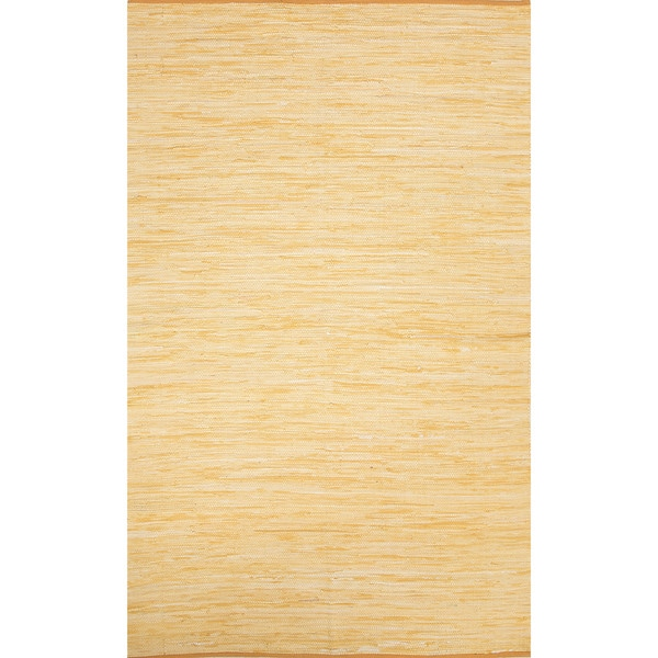 Handmade Casual Solid Pattern Buff yellow/ Buff yellow (9' x 12') Area Rug