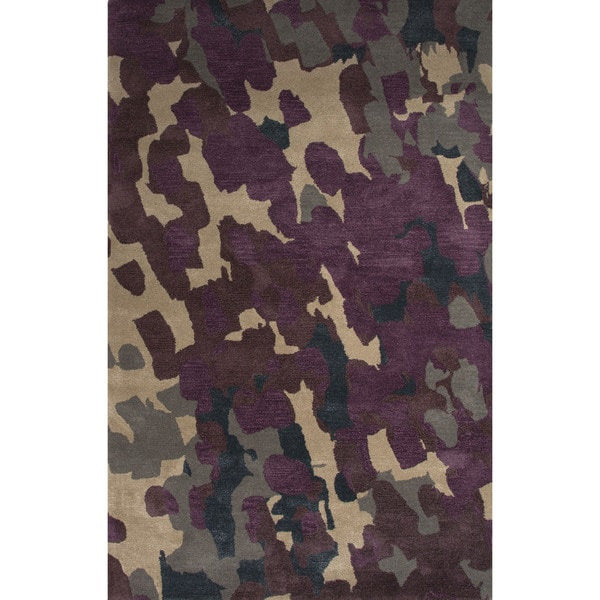 Hand-Tufted Novelty Abstract Pattern Grape shake/ Loral oak (8' x 10') Area Rug