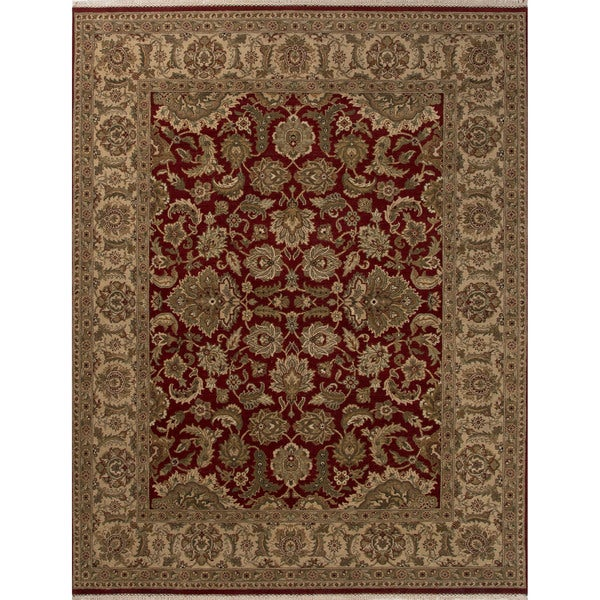 Hand-Knotted Classic Oriental Pattern Rosewood/ Crme brulee (4' x 6') Area Rug