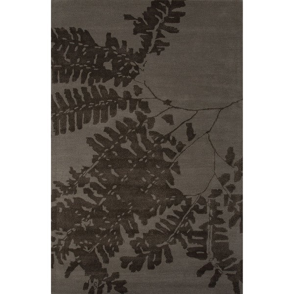 Hand-Tufted Novelty Floral Pattern Abbey Grey/ Teak (8' x 10') Area Rug