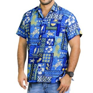 La Leela Blue Tropical Printed Aloha Swim Hawaiian Beach Shirt For Men's