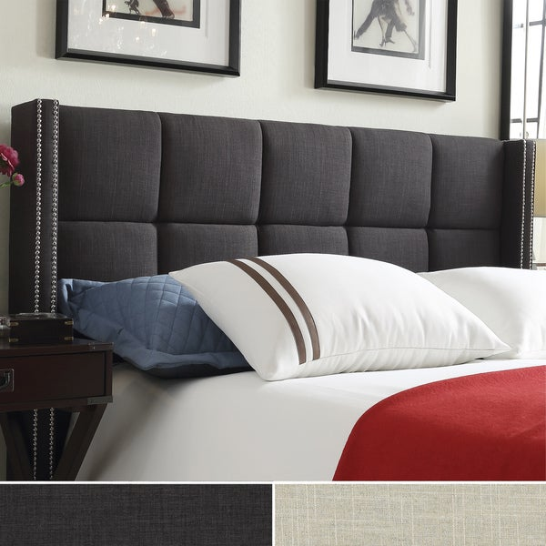 INSPIRE Q Parker Linen Nailhead Wingback Panel Upholstered King-sized Headboard