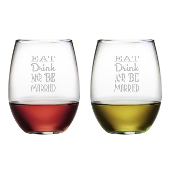 Eat Drink Be Married Stemless Wine Glasses (Set of 2)
