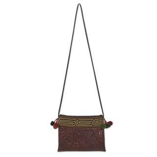 Natural Fibers Cotton 'Akha Wonder of Brown' Shoulder Bag (Thailand)
