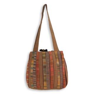 Handcrafted Cotton 'Oriental Brown' Shoulder Bag (Thailand)