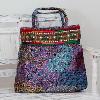Embellished 'Purple Palampore' Shoulder Bag (India)