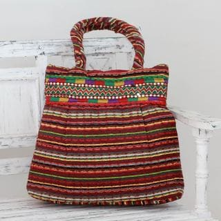 Handcrafted Cotton 'Rainbow Muse' Shoulder Bag (India)