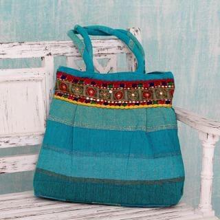 Handcrafted Cotton 'Enchanting Sky' Shoulder Bag (India)