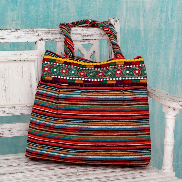 Handcrafted Cotton 'Rainbow Dreams' Shoulder Bag (India)