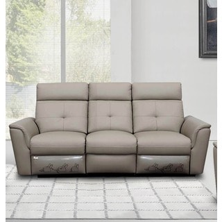 Luca Home Grey Leather Contemporary Sofa