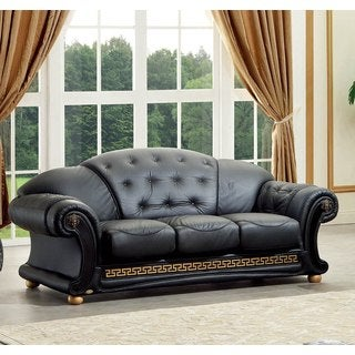 Luca Home Black Italian Leather Classic Contemporary Sofa