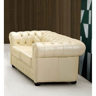 Luca Home Ivory Italian Leather Loveseat