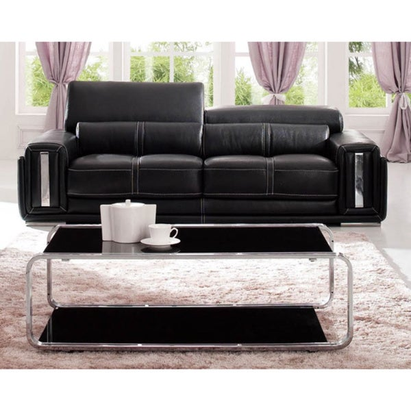 Luca Home Contemporary Black Italian Leather Sofa