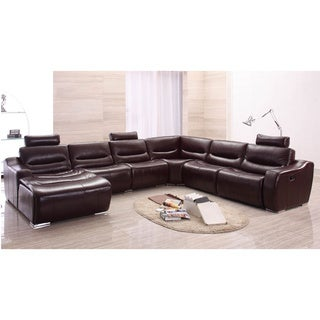 Luca Home Brown Italian Leather Sectional w/ Adjustable Headrest