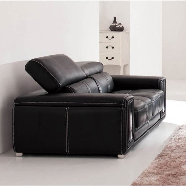 Luca Home Contemporary Black Italian Leather Loveseat